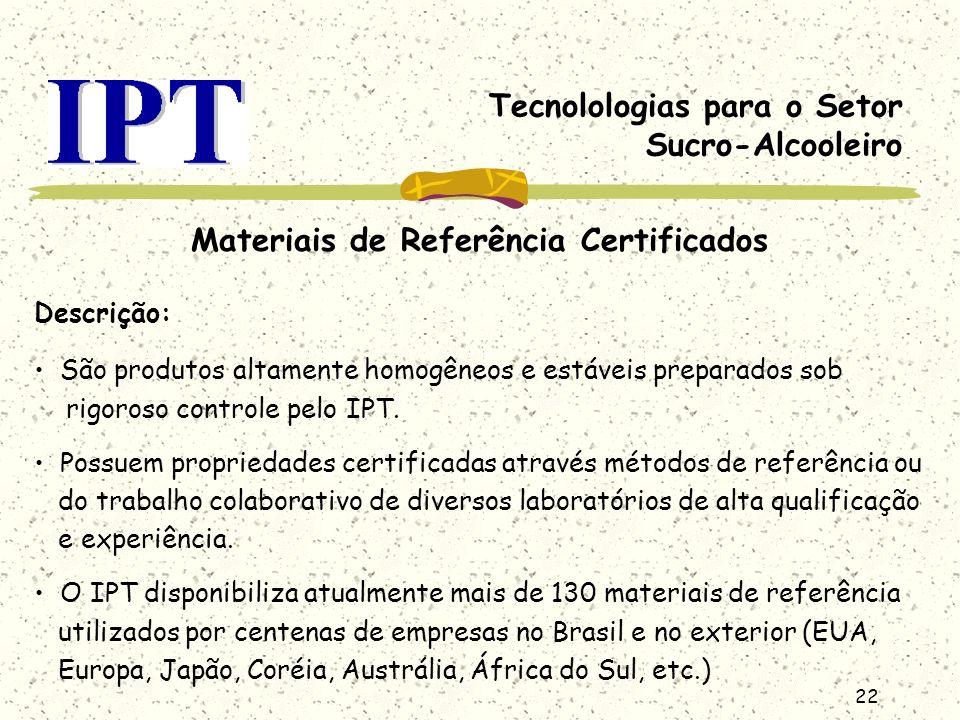 22 Tecnolologias para o Setor Sucro-Alcooleiro Materiais de Referência Certificados Descrição: São produtos altamente homogêneos e estáveis preparados