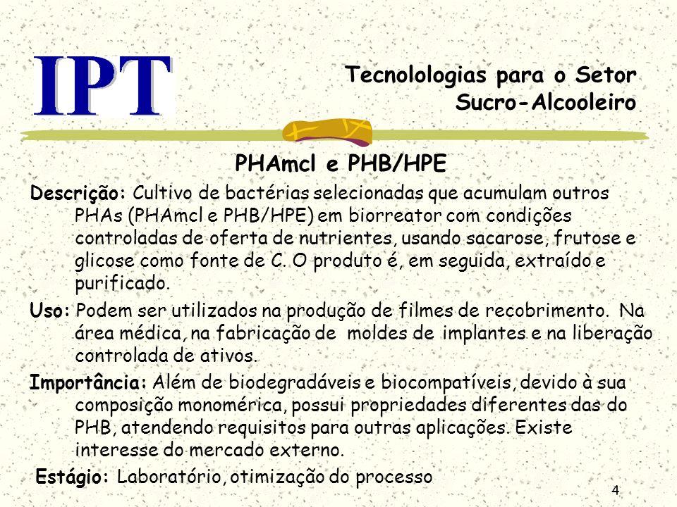 4 Tecnolologias para o Setor Sucro-Alcooleiro PHAmcl e PHB/HPE Descrição: Cultivo de bactérias selecionadas que acumulam outros PHAs (PHAmcl e PHB/HPE