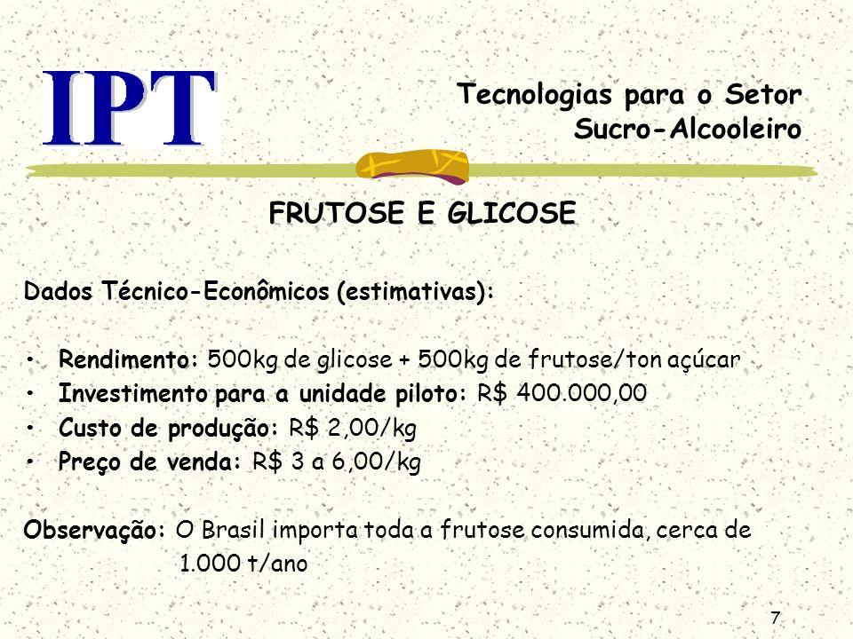 7 Tecnologias para o Setor Sucro-Alcooleiro FRUTOSE E GLICOSE Dados Técnico-Econômicos (estimativas): Rendimento: 500kg de glicose + 500kg de frutose/