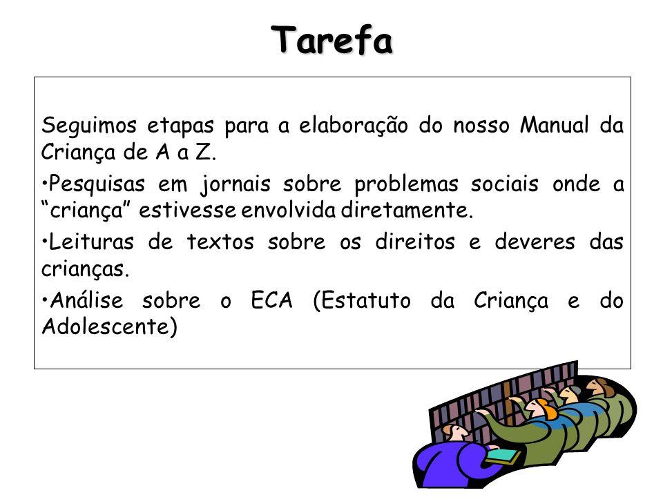 Tarefa Seguimos etapas para a elaboração do nosso Manual da Criança de A a Z. Pesquisas em jornais sobre problemas sociais onde a criança estivesse en