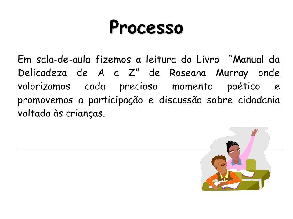 Processo Em sala-de-aula fizemos a leitura do Livro Manual da Delicadeza de A a Z de Roseana Murray onde valorizamos cada precioso momento poético e p