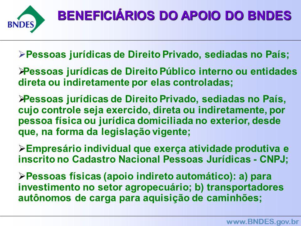 www.BNDES.gov.br BENEFICIÁRIOS DO APOIO DO BNDES Pessoas jurídicas de Direito Privado, sediadas no País; Pessoas jurídicas de Direito Público interno