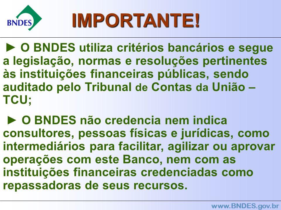 www.BNDES.gov.br O BNDES utiliza critérios bancários e segue a legislação, normas e resoluções pertinentes às instituições financeiras públicas, sendo