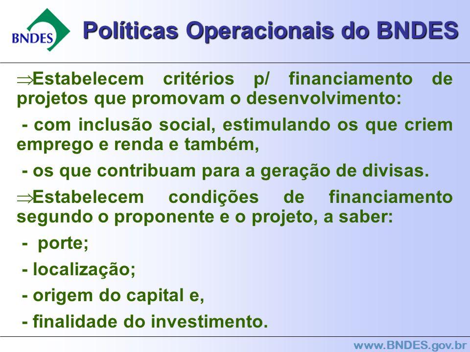 www.BNDES.gov.br Políticas Operacionais do BNDES Estabelecem critérios p/ financiamento de projetos que promovam o desenvolvimento: - com inclusão soc