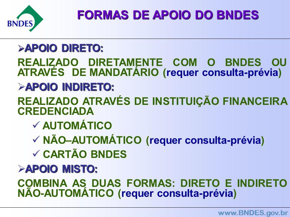 www.BNDES.gov.br FORMAS DE APOIO DO BNDES APOIO DIRETO: APOIO DIRETO: REALIZADO DIRETAMENTE COM O BNDES OU ATRAVÉS DE MANDATÁRIO (requer consulta-prév