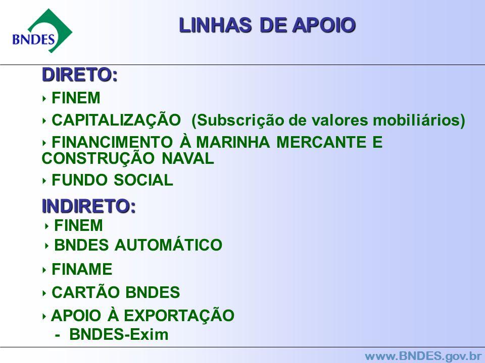 www.BNDES.gov.br LINHAS DE APOIO DIRETO: FINEM CAPITALIZAÇÃO (Subscrição de valores mobiliários) FINANCIMENTO À MARINHA MERCANTE E CONSTRUÇÃO NAVAL FU