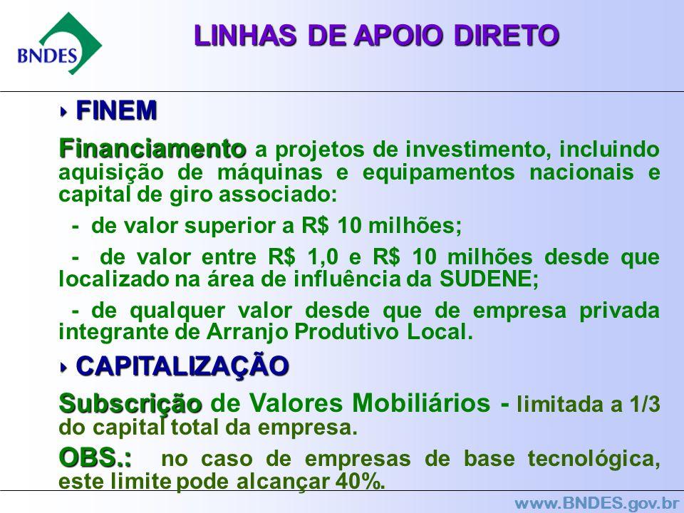 www.BNDES.gov.br LINHAS DE APOIO DIRETO FINEM FINEM Financiamento Financiamento a projetos de investimento, incluindo aquisição de máquinas e equipame