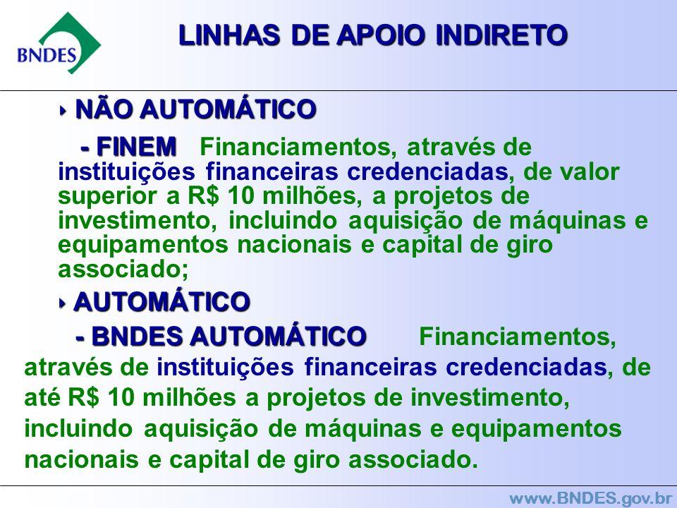 www.BNDES.gov.br LINHAS DE APOIO INDIRETO NÃO AUTOMÁTICO NÃO AUTOMÁTICO - FINEM - FINEM Financiamentos, através de instituições financeiras credenciad