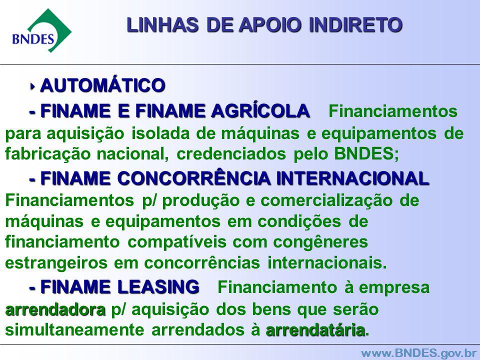 www.BNDES.gov.br LINHAS DE APOIO INDIRETO AUTOMÁTICO AUTOMÁTICO -FINAME E FINAME AGRÍCOLA - FINAME E FINAME AGRÍCOLA Financiamentos para aquisição iso