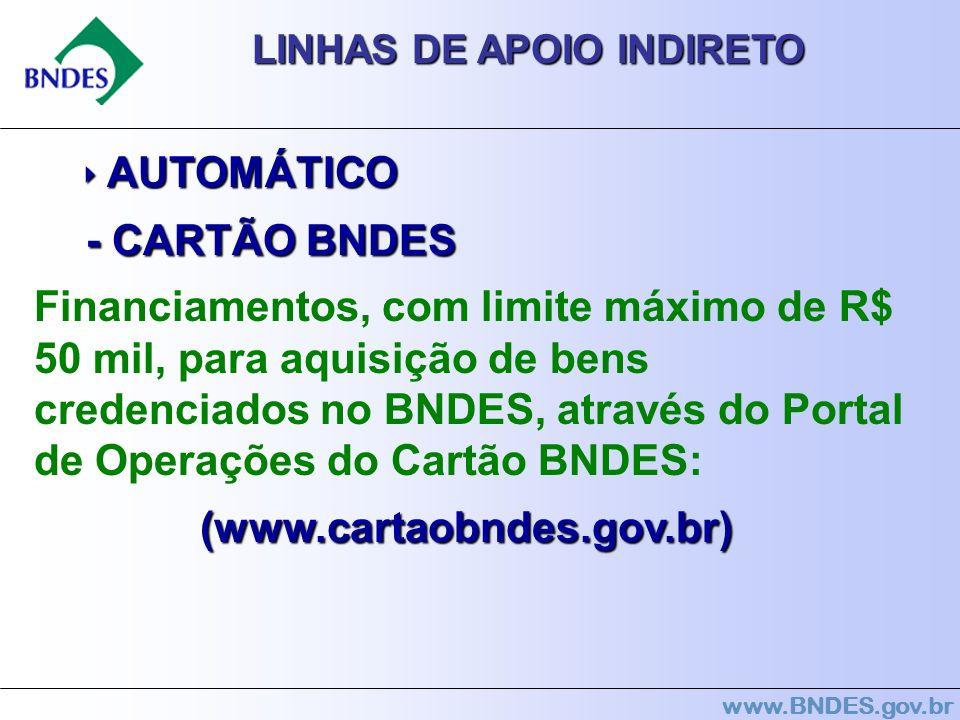 www.BNDES.gov.br LINHAS DE APOIO INDIRETO AUTOMÁTICO AUTOMÁTICO - CARTÃO BNDES - CARTÃO BNDES Financiamentos, com limite máximo de R$ 50 mil, para aqu