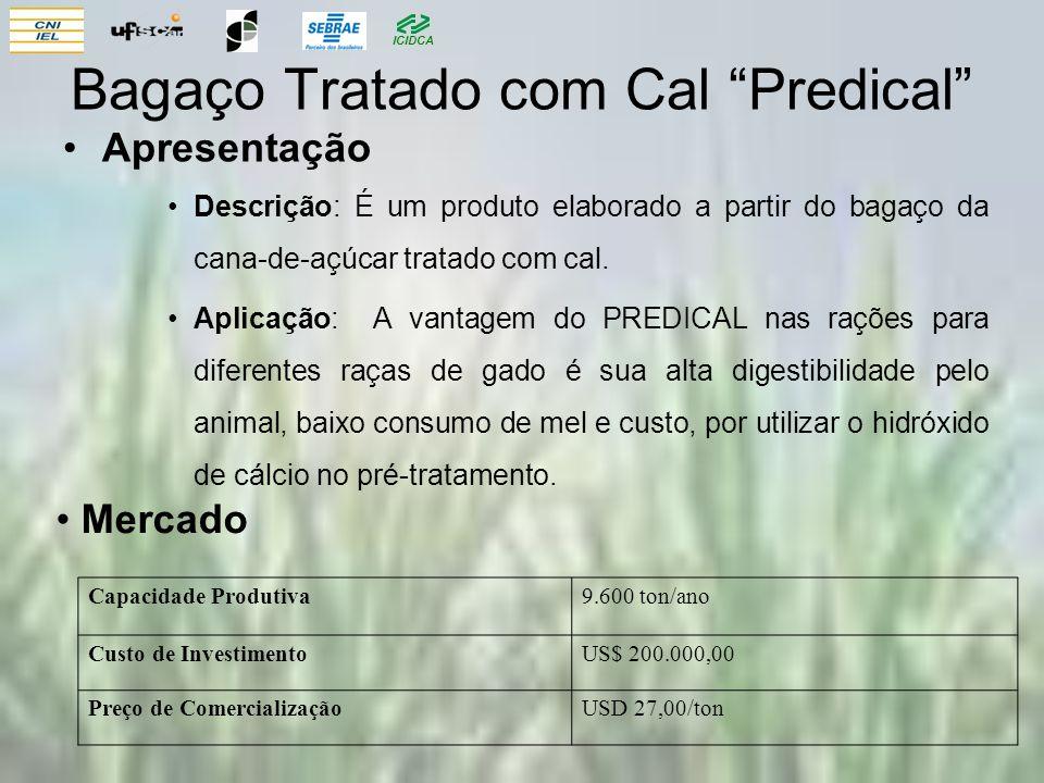 ICIDCA Bagaço Tratado com Cal Predical Apresentação Descrição: É um produto elaborado a partir do bagaço da cana-de-açúcar tratado com cal. Aplicação: