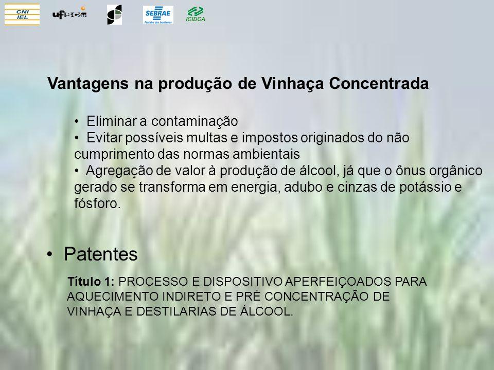ICIDCA Patentes Título 1: PROCESSO E DISPOSITIVO APERFEIÇOADOS PARA AQUECIMENTO INDIRETO E PRÉ CONCENTRAÇÃO DE VINHAÇA E DESTILARIAS DE ÁLCOOL.