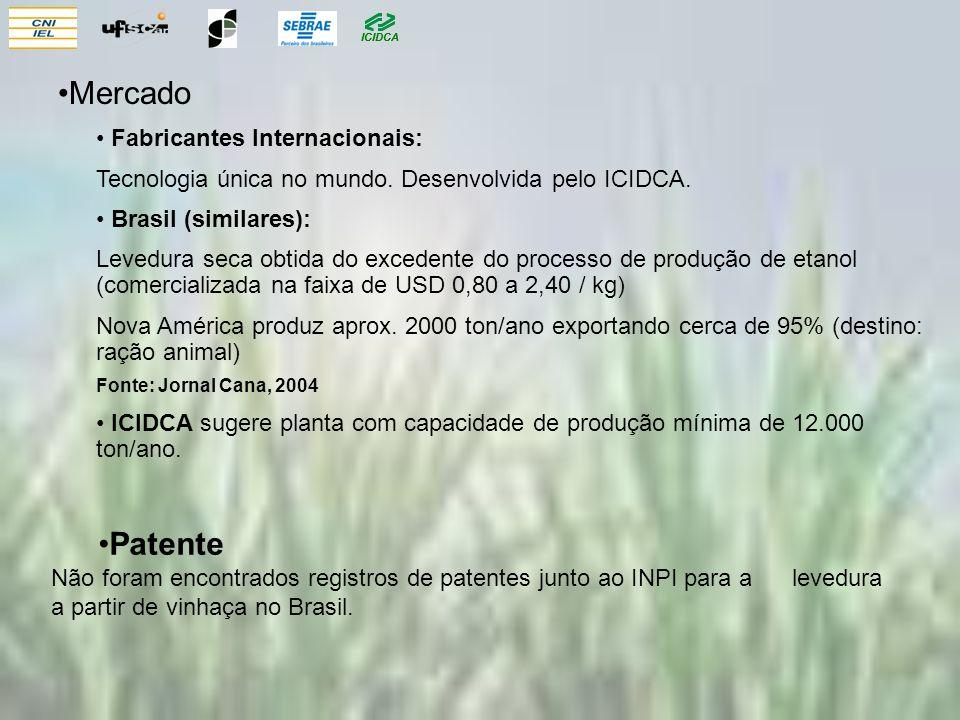 Mercado Fabricantes Internacionais: Tecnologia única no mundo. Desenvolvida pelo ICIDCA. Brasil (similares): Levedura seca obtida do excedente do proc