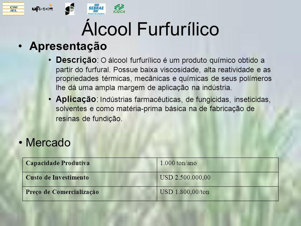 ICIDCA Álcool Furfurílico Apresentação Descrição: O álcool furfurílico é um produto químico obtido a partir do furfural. Possue baixa viscosidade, alt