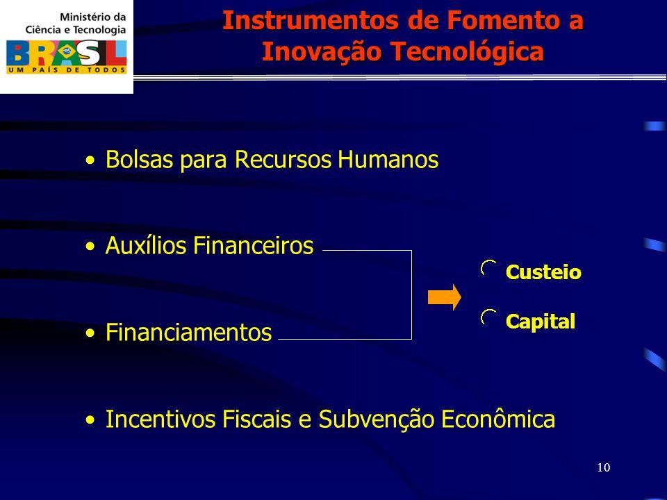 10 Bolsas para Recursos Humanos Auxílios Financeiros Financiamentos Incentivos Fiscais e Subvenção Econômica Instrumentos de Fomento a Inovação Tecnológica Custeio Capital
