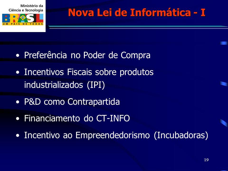 19 Preferência no Poder de Compra Incentivos Fiscais sobre produtos industrializados (IPI) P&D como Contrapartida Financiamento do CT-INFO Incentivo ao Empreendedorismo (Incubadoras) Nova Lei de Informática - I