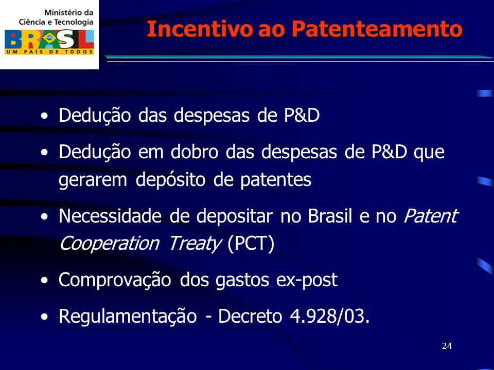 24 Dedução das despesas de P&D Dedução em dobro das despesas de P&D que gerarem depósito de patentes Necessidade de depositar no Brasil e no Patent Cooperation Treaty (PCT) Comprovação dos gastos ex-post Regulamentação - Decreto 4.928/03.