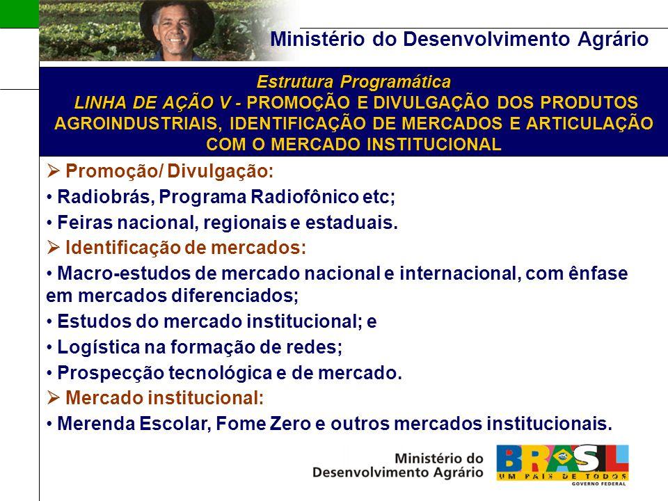 Ministério do Desenvolvimento Agrário Estrutura Programática LINHA DE AÇÃO V - Estrutura Programática LINHA DE AÇÃO V - PROMOÇÃO E DIVULGAÇÃO DOS PRODUTOS AGROINDUSTRIAIS, IDENTIFICAÇÃO DE MERCADOS E ARTICULAÇÃO COM O MERCADO INSTITUCIONAL Promoção/ Divulgação: Radiobrás, Programa Radiofônico etc; Feiras nacional, regionais e estaduais.