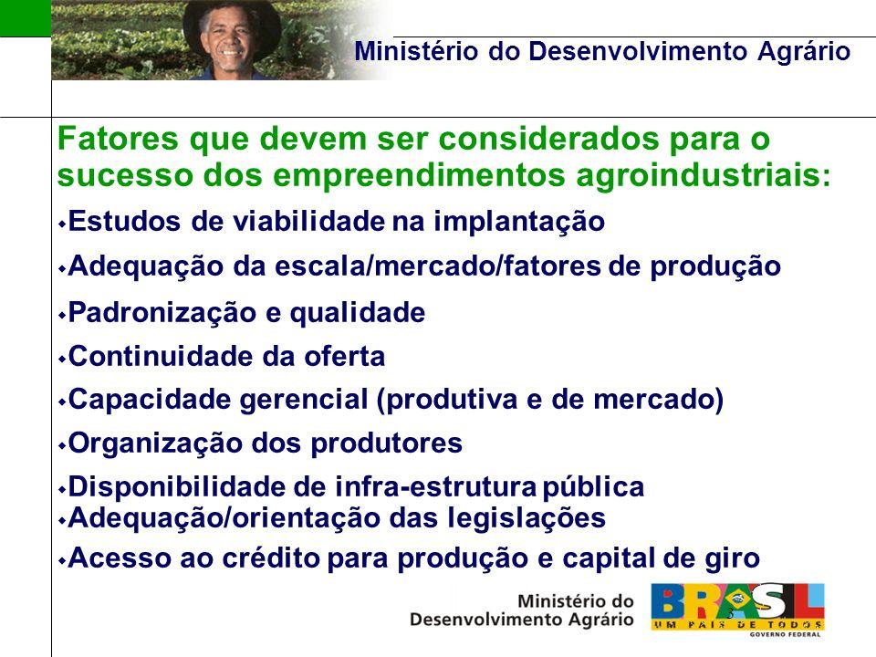 Ministério do Desenvolvimento Agrário Estrutura Programática LINHA DE AÇÃO III (c) - Estrutura Programática LINHA DE AÇÃO III (c) - ELABORAÇÃO DE MANUAIS TÉCNICOS E DOCUMENTOS ORIENTADORES E CAPACITAÇÃO DE MULTIPLICADORES Capacitação: - Sensibilização e organização de agricultores familiares; - Elaboração de projetos de agroindústrias; - Estruturação e gestão de formas associativas das agroindústrias familiares e das cadeias produtivas; - Gestão de empreendimentos agroindustriais.