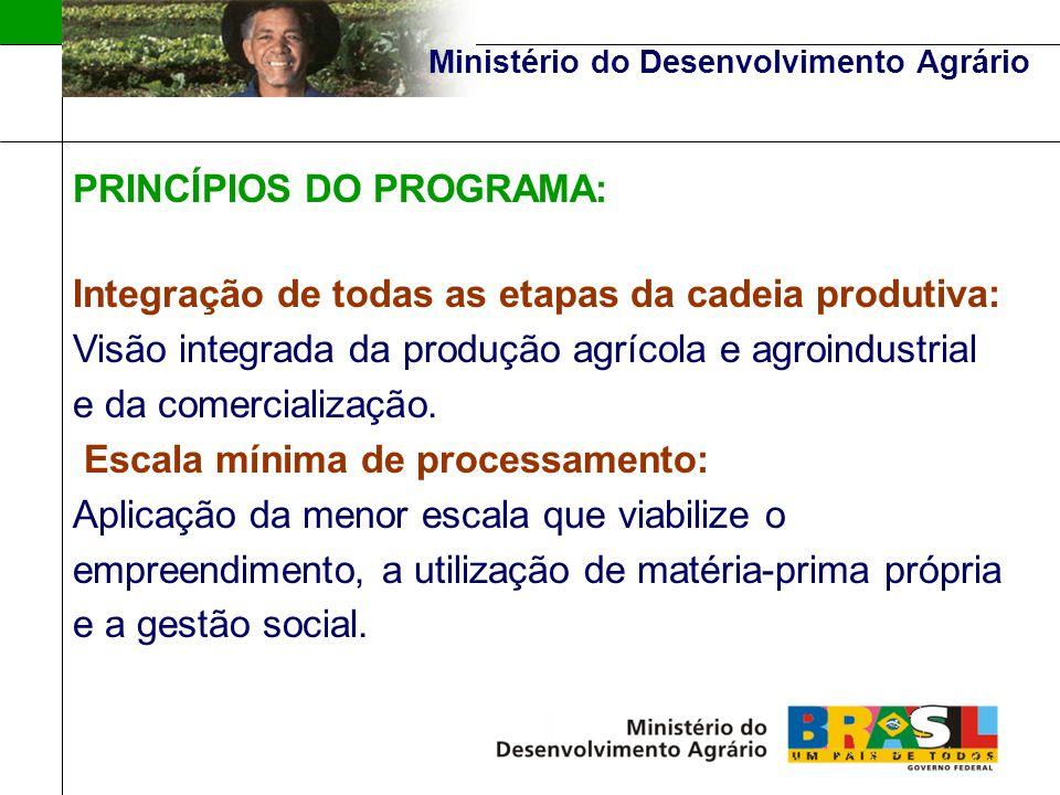 Ministério do Desenvolvimento Agrário PRINCÍPIOS DO PROGRAMA: Integração em Redes: Atuação integrada entre as agroindústrias para proporcionar economicidade e eficiência nos processos de produção e escala na busca de mercado, além de aumentar o poder de barganha dos agricultores.