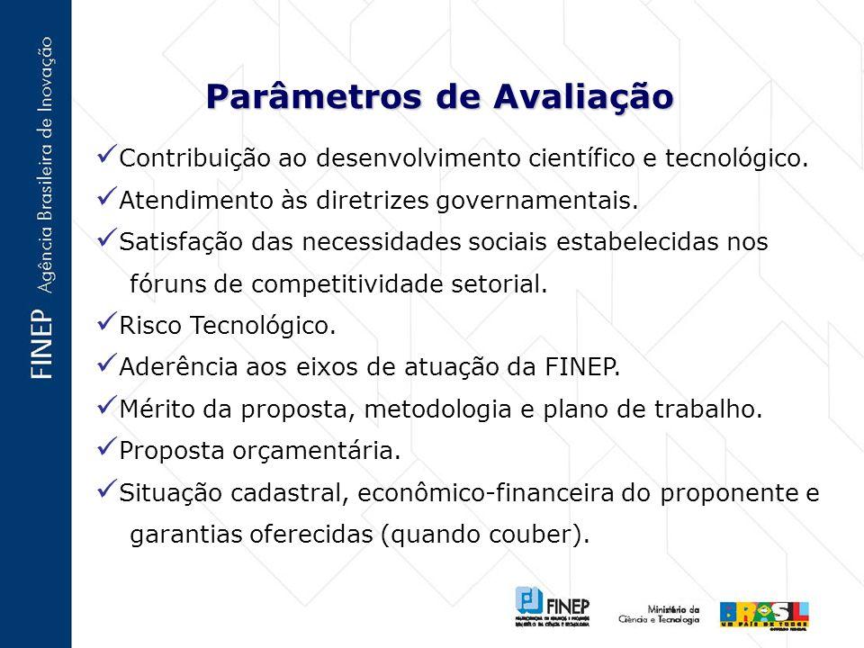 Parâmetros de Avaliação Contribuição ao desenvolvimento científico e tecnológico.