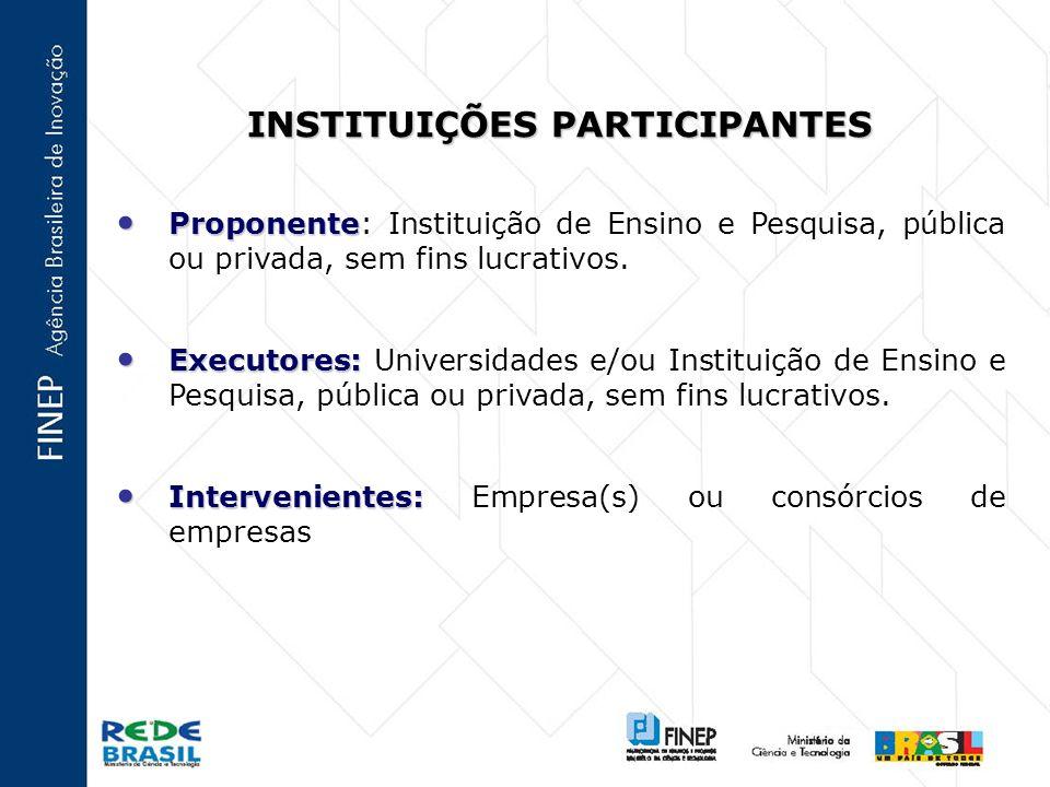 INSTITUIÇÕES PARTICIPANTES Proponente Proponente: Instituição de Ensino e Pesquisa, pública ou privada, sem fins lucrativos.