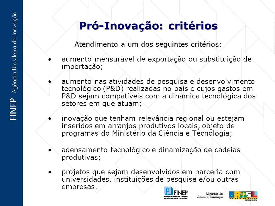 Pró-Inovação: critérios Atendimento a um dos seguintes critérios: aumento mensurável de exportação ou substituição de importação; aumento nas atividades de pesquisa e desenvolvimento tecnológico (P&D) realizadas no país e cujos gastos em P&D sejam compatíveis com a dinâmica tecnológica dos setores em que atuam; inovação que tenham relevância regional ou estejam inseridos em arranjos produtivos locais, objeto de programas do Ministério da Ciência e Tecnologia; adensamento tecnológico e dinamização de cadeias produtivas; projetos que sejam desenvolvidos em parceria com universidades, instituições de pesquisa e/ou outras empresas.