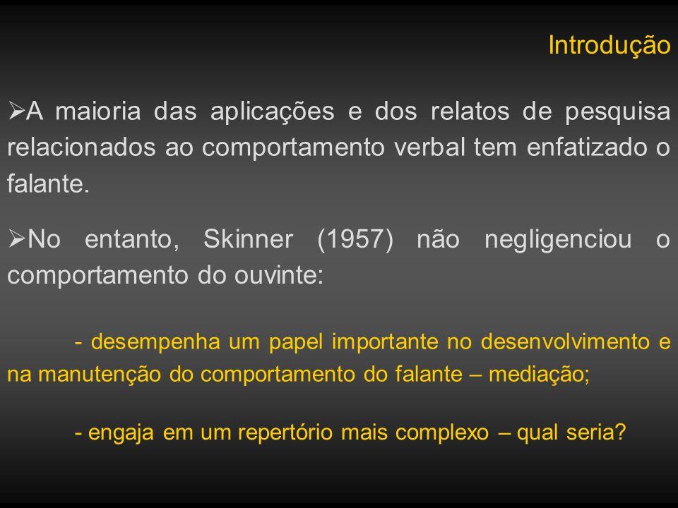 Introdução A maioria das aplicações e dos relatos de pesquisa relacionados ao comportamento verbal tem enfatizado o falante. No entanto, Skinner (1957