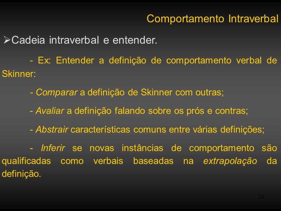 24 Comportamento Intraverbal Cadeia intraverbal e entender. - Ex: Entender a definição de comportamento verbal de Skinner: - Comparar a definição de S