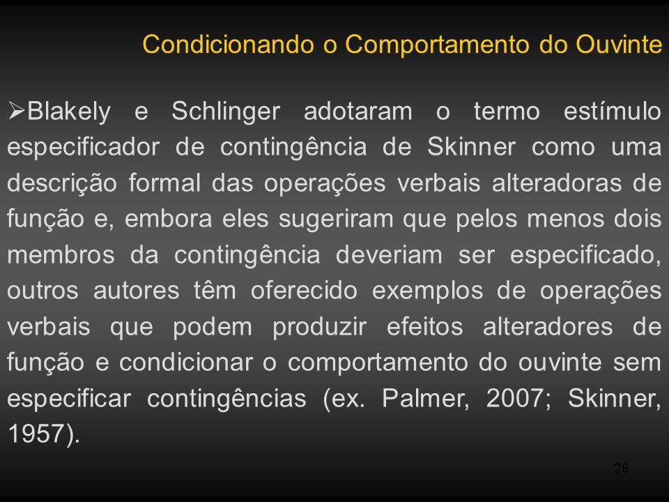 28 Condicionando o Comportamento do Ouvinte Blakely e Schlinger adotaram o termo estímulo especificador de contingência de Skinner como uma descrição