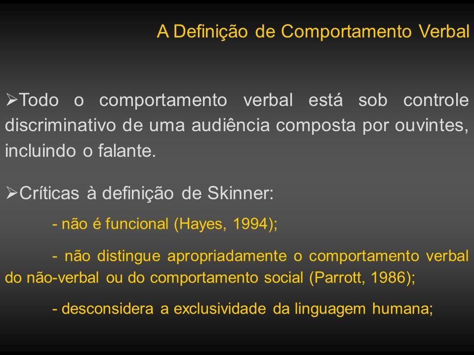 A Definição de Comportamento Verbal Defensores: - a propriedade especial do comportamento verbal é seu poder de afetar o comportamento condicionado de outras pessoas de maneiras sistemáticas (Palmer, 2004); - a maior contribuição de Skinner é que o comportamento verbal não é fundamentalmente diferente de outros comportamentos operantes;