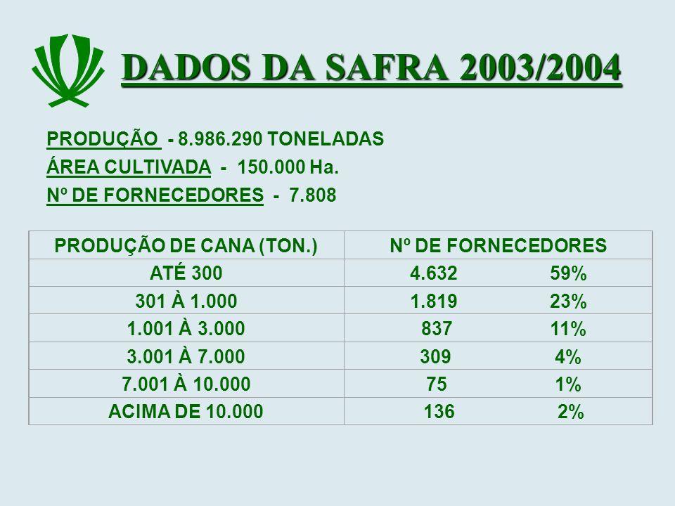 DADOS DA SAFRA 2003/2004 PRODUÇÃO - 8.986.290 TONELADAS Nº DE FORNECEDORES - 7.808 PRODUÇÃO DE CANA (TON.)Nº DE FORNECEDORES ATÉ 3004.632 59% 301 À 1.
