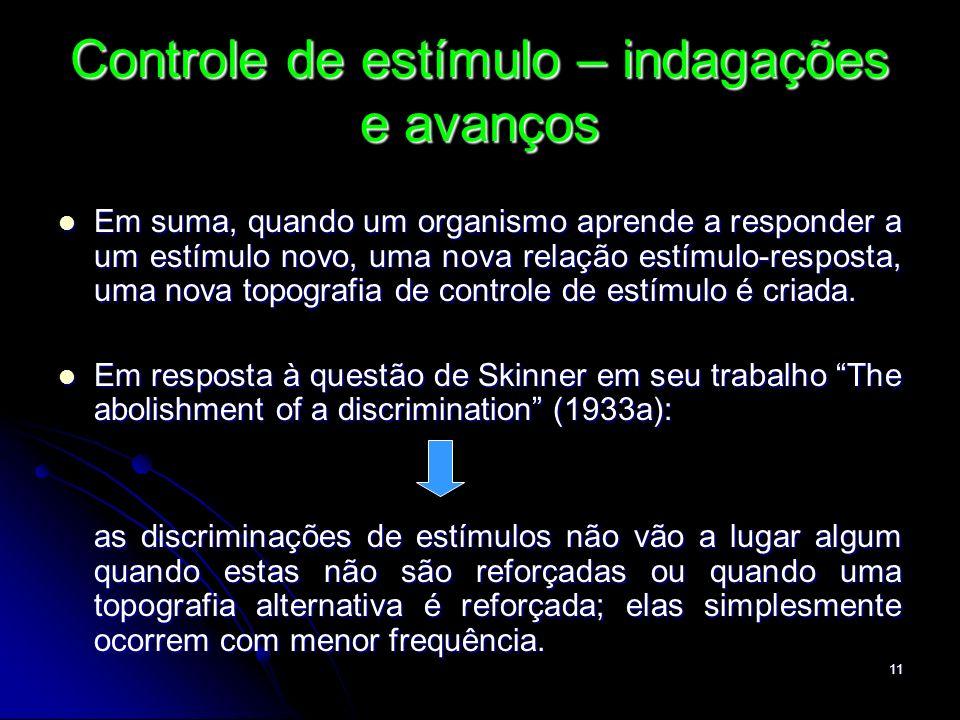 11 Controle de estímulo – indagações e avanços Em suma, quando um organismo aprende a responder a um estímulo novo, uma nova relação estímulo-resposta