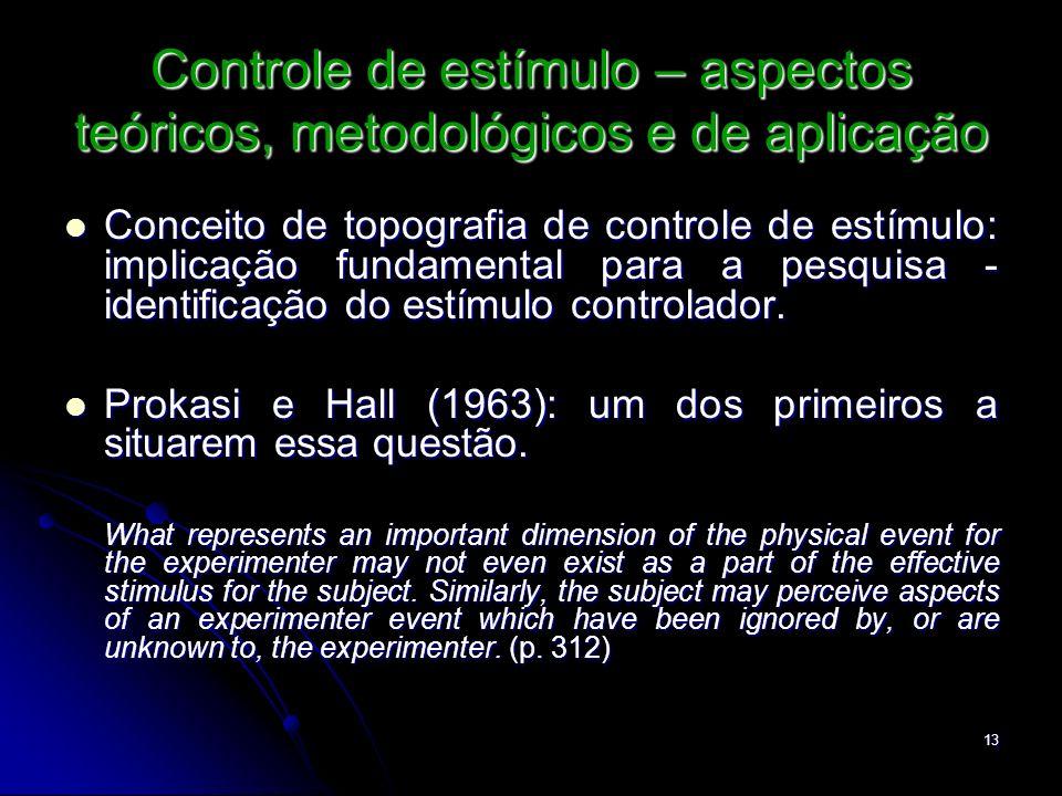 13 Controle de estímulo – aspectos teóricos, metodológicos e de aplicação Conceito de topografia de controle de estímulo: implicação fundamental para