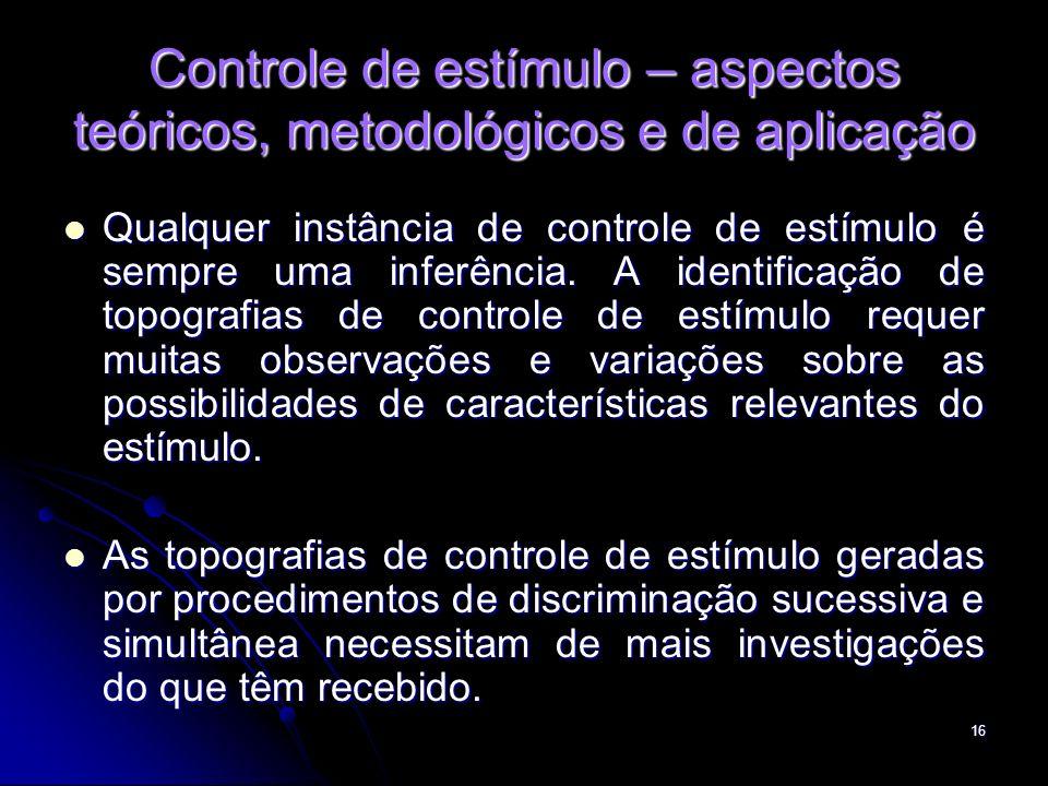 16 Controle de estímulo – aspectos teóricos, metodológicos e de aplicação Qualquer instância de controle de estímulo é sempre uma inferência. A identi