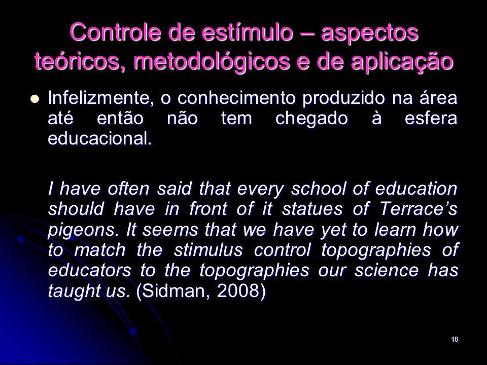 18 Controle de estímulo – aspectos teóricos, metodológicos e de aplicação Infelizmente, o conhecimento produzido na área até então não tem chegado à e