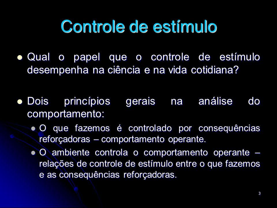 3 Controle de estímulo Qual o papel que o controle de estímulo desempenha na ciência e na vida cotidiana? Qual o papel que o controle de estímulo dese
