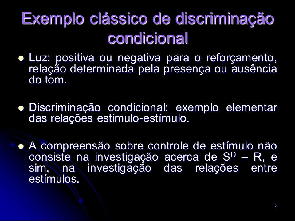 5 Exemplo clássico de discriminação condicional Luz: positiva ou negativa para o reforçamento, relação determinada pela presença ou ausência do tom. L