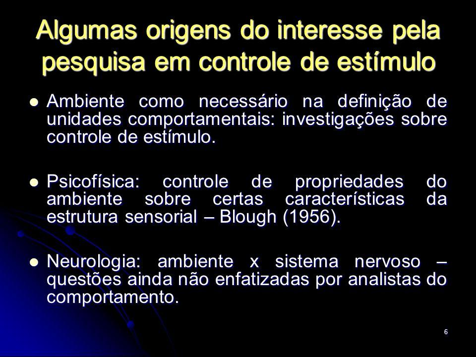 6 Algumas origens do interesse pela pesquisa em controle de estímulo Ambiente como necessário na definição de unidades comportamentais: investigações