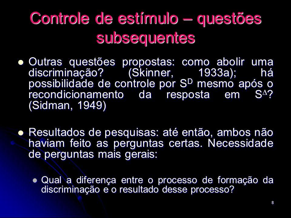 8 Controle de estímulo – questões subsequentes Outras questões propostas: como abolir uma discriminação? (Skinner, 1933a); há possibilidade de control