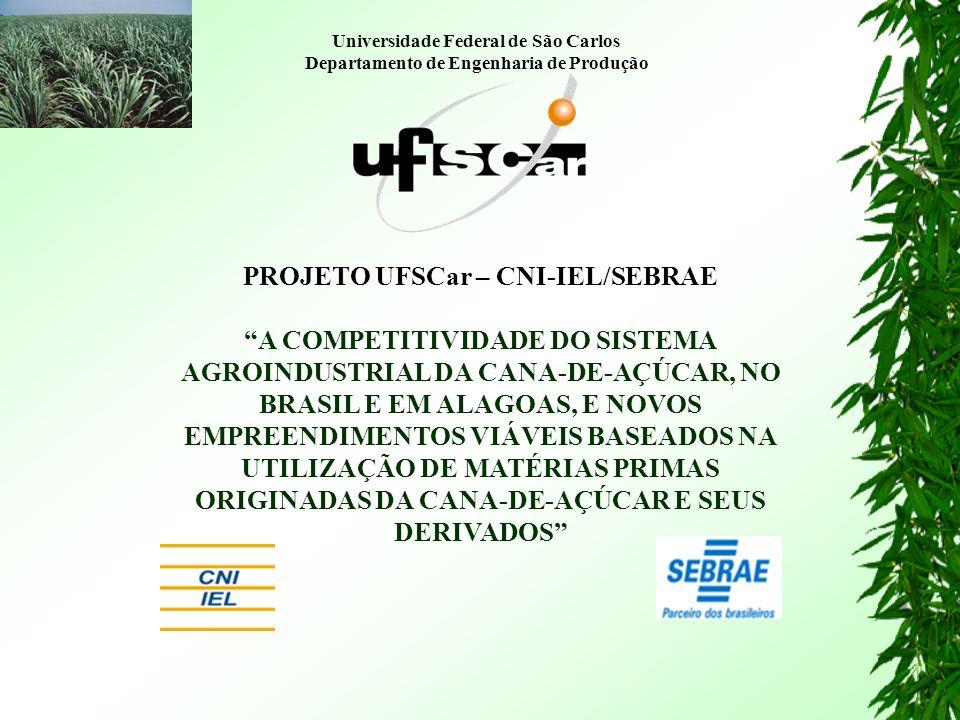 PROJETO UFSCar – CNI-IEL/SEBRAE A COMPETITIVIDADE DO SISTEMA AGROINDUSTRIAL DA CANA-DE-AÇÚCAR, NO BRASIL E EM ALAGOAS, E NOVOS EMPREENDIMENTOS VIÁVEIS BASEADOS NA UTILIZAÇÃO DE MATÉRIAS PRIMAS ORIGINADAS DA CANA-DE-AÇÚCAR E SEUS DERIVADOS Universidade Federal de São Carlos Departamento de Engenharia de Produção