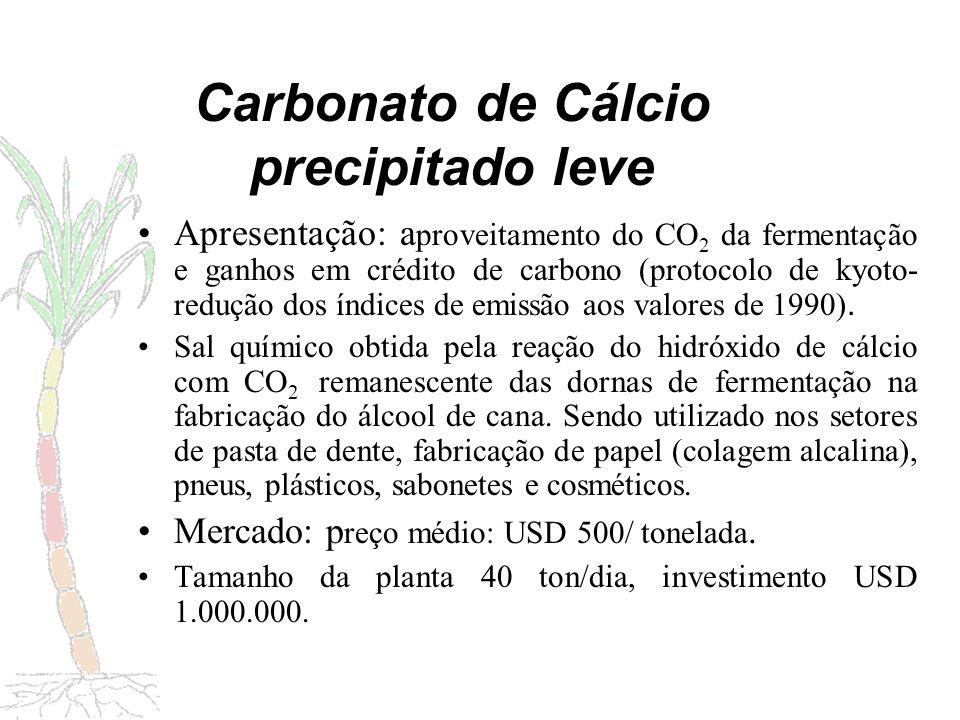 Etapas do processamento industrial Recuperação álcool Linha do CO2 Carbonato de cálcio Estoque CO2 Compressor Ventiladores de alta vazão Linha do cal Decantador Torre de carbonatação Depuração do CaOH Dissolução do cal Separação Secagem