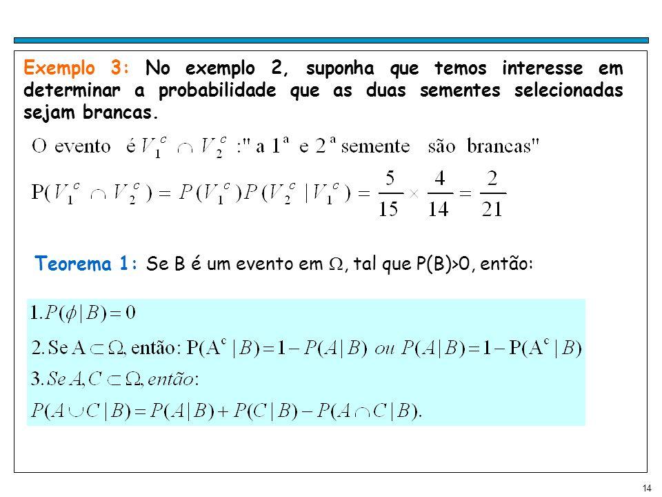 14 Exemplo 3: No exemplo 2, suponha que temos interesse em determinar a probabilidade que as duas sementes selecionadas sejam brancas.