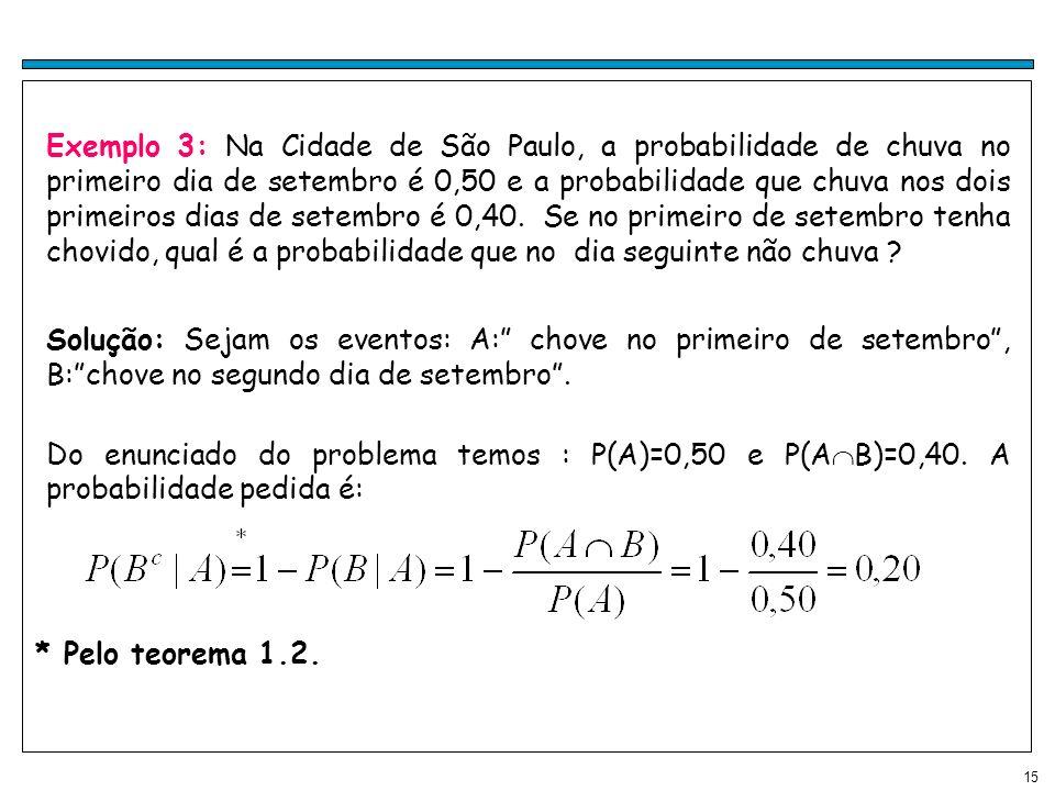 15 Exemplo 3: Na Cidade de São Paulo, a probabilidade de chuva no primeiro dia de setembro é 0,50 e a probabilidade que chuva nos dois primeiros dias de setembro é 0,40.