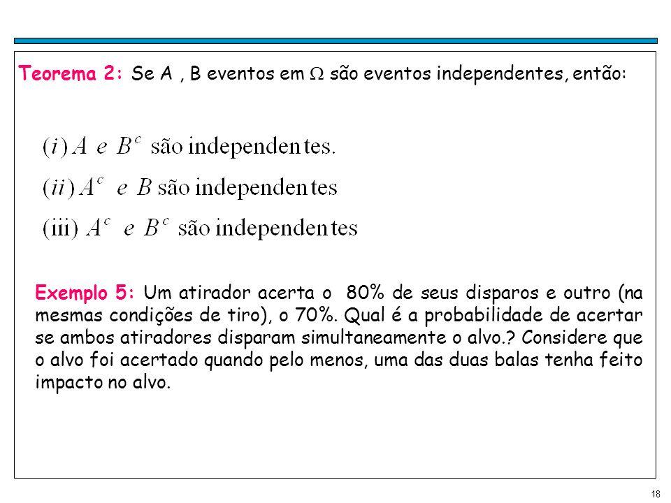 18 Teorema 2: Se A, B eventos em são eventos independentes, então: Exemplo 5: Um atirador acerta o 80% de seus disparos e outro (na mesmas condições de tiro), o 70%.