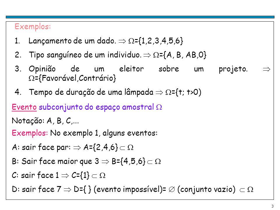 3 Exemplos: 1.Lançamento de um dado.={1,2,3,4,5,6} 2.Tipo sanguíneo de um individuo.