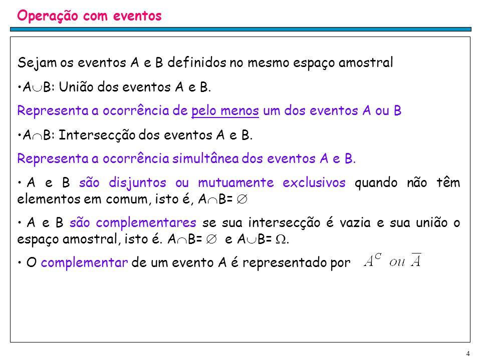4 Operação com eventos Sejam os eventos A e B definidos no mesmo espaço amostral A B: União dos eventos A e B.