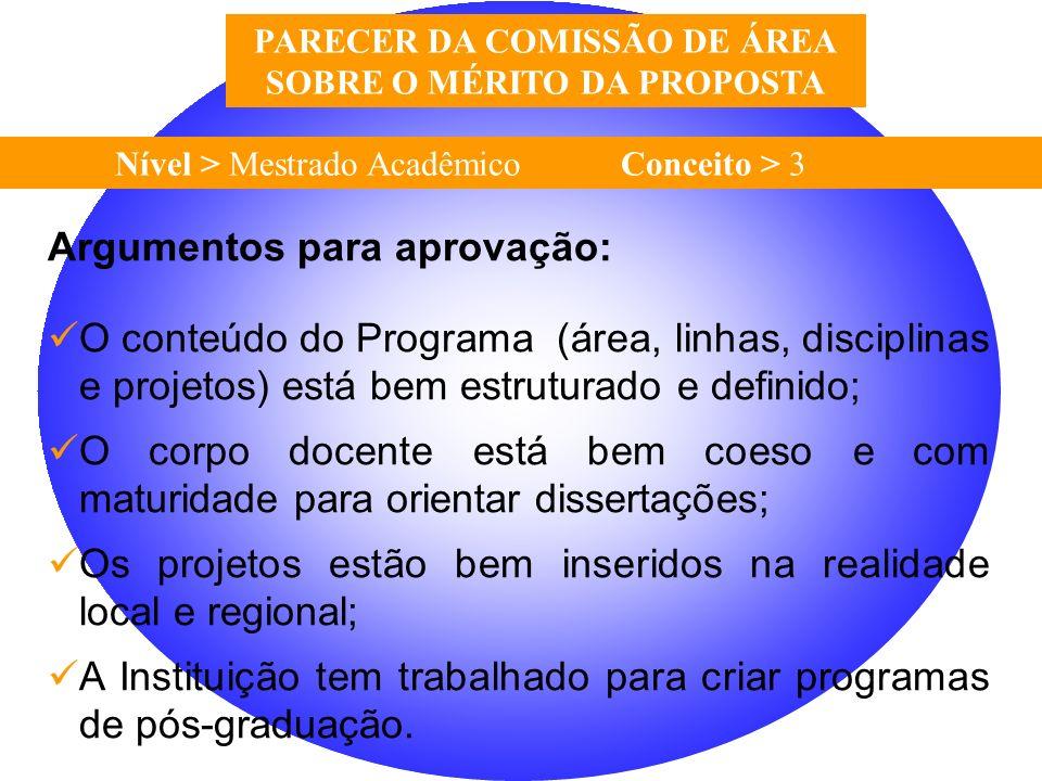 Nível > Mestrado Acadêmico Conceito > 3 PARECER DA COMISSÃO DE ÁREA SOBRE O MÉRITO DA PROPOSTA Argumentos para aprovação: O conteúdo do Programa (área