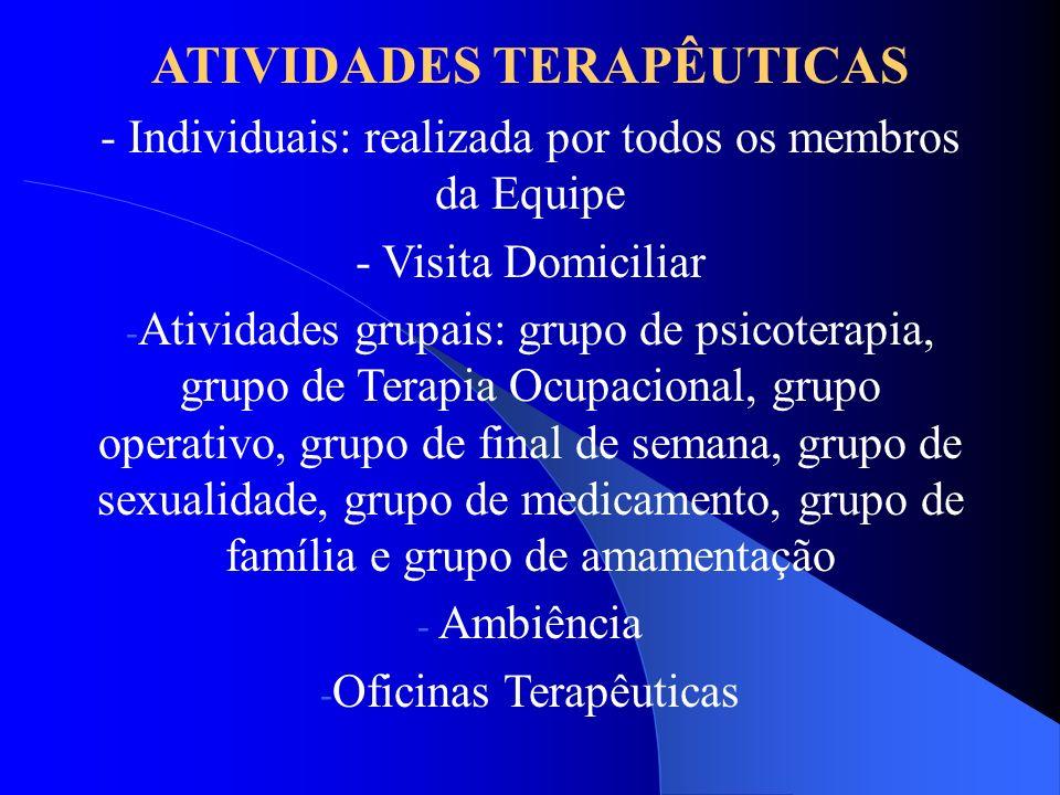 ATIVIDADES TERAPÊUTICAS - Individuais: realizada por todos os membros da Equipe - Visita Domiciliar - Atividades grupais: grupo de psicoterapia, grupo