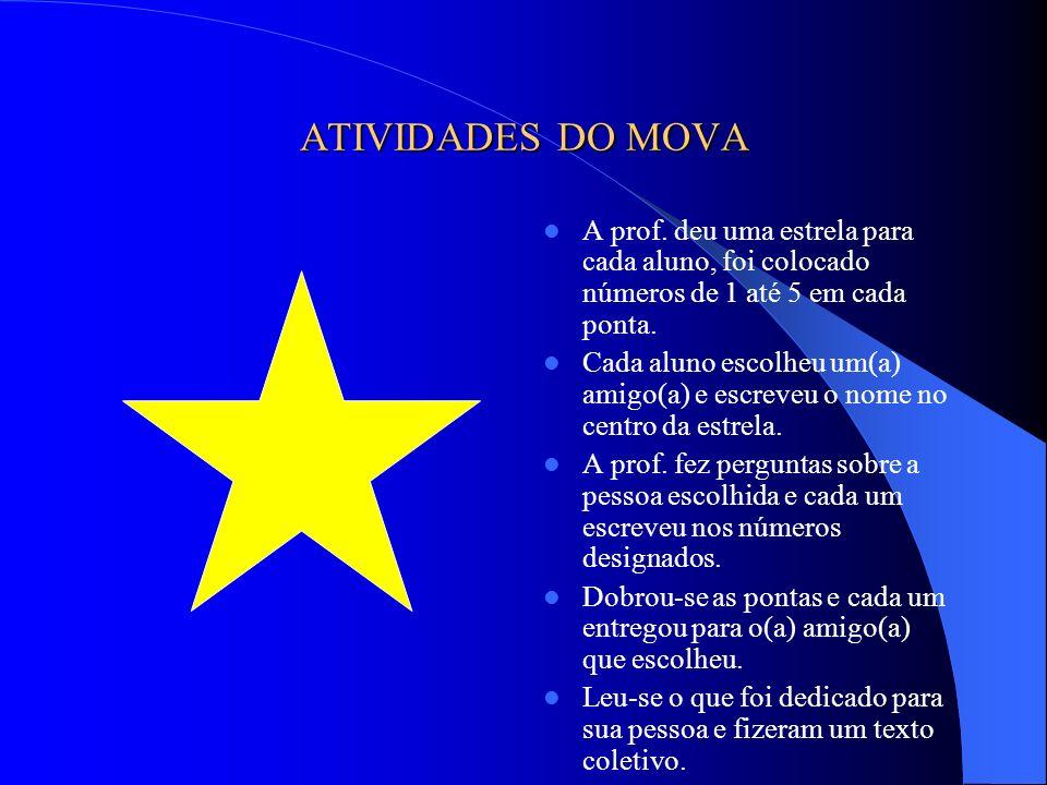 ATIVIDADES DO MOVA A prof. deu uma estrela para cada aluno, foi colocado números de 1 até 5 em cada ponta. Cada aluno escolheu um(a) amigo(a) e escrev